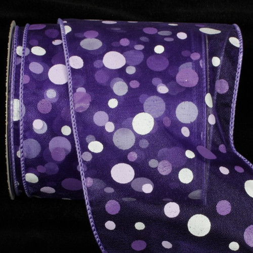 "Purple and White Tuffts Polka Dot Purple Sheer Wired Craft Ribbon 4"" x 20 yards - 31385914"
