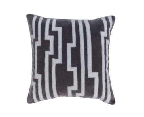 """20"""" Smokey Black and Silver Gray Charming Key Patterned Decorative Throw Pillow-Down Filler - 31348284"""