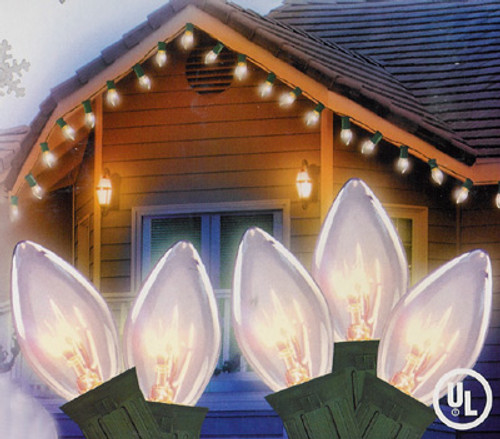 Set of 25 Clear Random Twinkling C9 Christmas Lights With Green Wire - 6464343