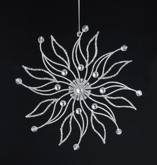 "7.5"" Sparkling Whites Snowflake with Halo Gem Center Christmas Ornament - 31084270"