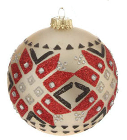 "Matte Jeweled Glittery Aztec Inspired Glass Ball Christmas Ornament 4"" (100mm) - 31072378"