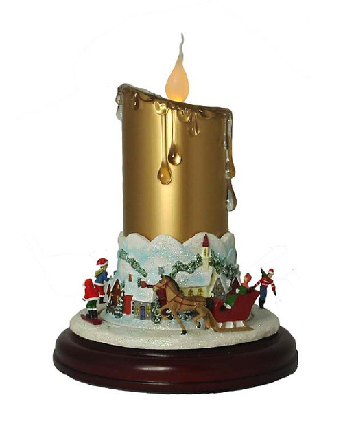 "9"" Musical Lighted Christmas Candle Decor with Animated Ice Skaters on Pedestal - 9728372"