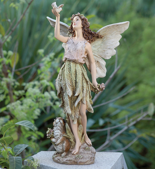 """20"""" Whimsical Fairy with Woodland Friend Outdoor Patio Garden Statue - 30955509"""