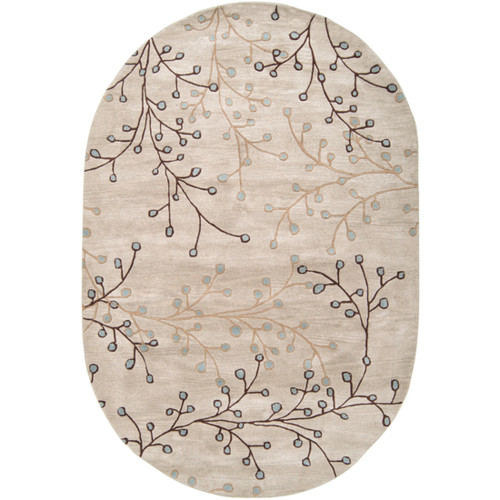6' x 9' Fair Enoki Oyster Gray and Sepia Brown Oval Wool Area Throw Rug - 28457461