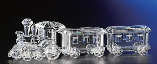 """Pack of 2 Icy Crystal Decorative Christmas Candy Jar Trains 3.5"""" - 31002273"""