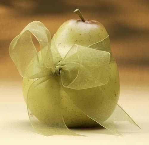 "Club Pack of 24 Decorative Pear Fruits With Sheer Green Ribbon 4"" - 6362467"