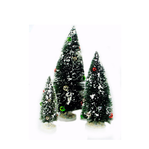 Miniature Christmas Tree Flocked Set of 3 With Ball Ornaments - 30782690