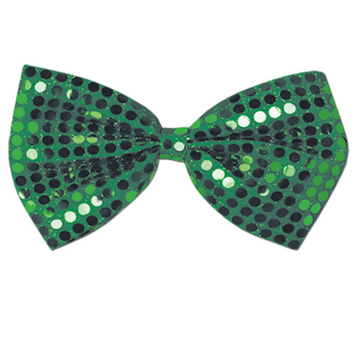 "Club Pack of 12 Green Glitz 'N Gleam Sequined St. Patrick's Day Bow Ties 7"" - 31563562"
