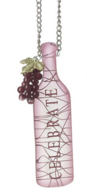 """Tuscan Winery """"CELEBRATE"""" Wine Bottle with GrapesTag Christmas Ornament 5"""" - 11240446"""