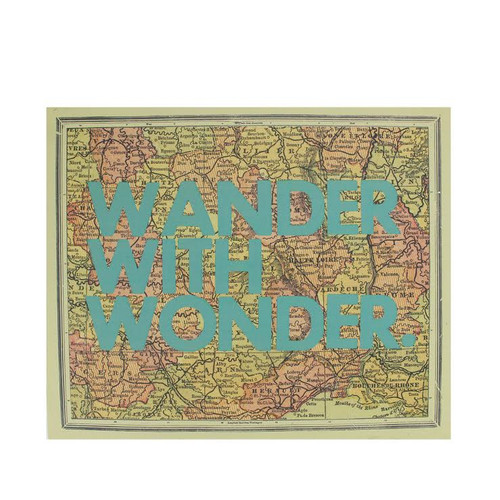 """12"""" Inspirational Quote """"Wander With Wonder"""" Colorful Framed Atlas Map Hanging Wall Art - 31521835"""