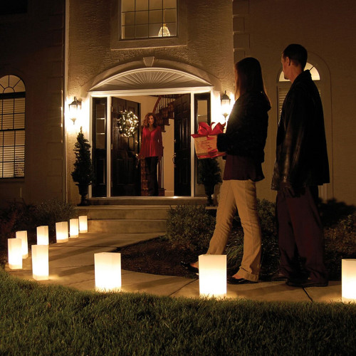 Set of 10 Lighted Winter White Luminaria Pathway Markers Kit with LumaBase - 30851518