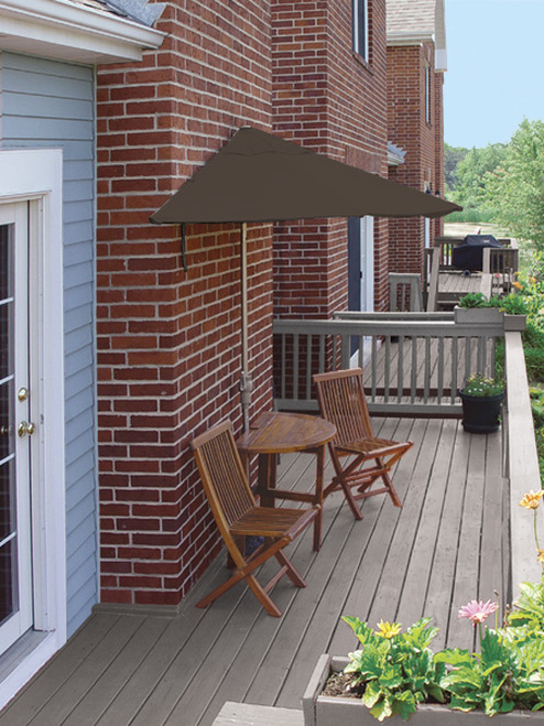 5 Piece Oval Deluxe Nyatoh Wood and Brown Sunbrella Patio Furniture Set 7.5' - 16156657