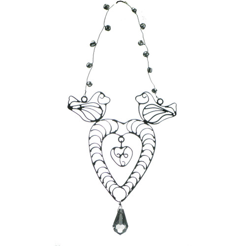 """Set of 3 Antique Style Egyptian Hand Crafted Wire Heart Christmas Ornaments 7"""" - 31010527"""