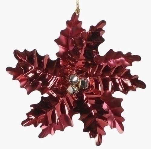 """6"""" Holiday Cheer Red Poinsettia with Gold Bells Christmas Ornament - 7265052"""