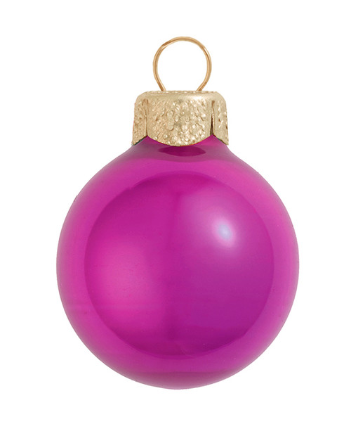 """6ct Pearl Raspberry Pink Glass Ball Christmas Ornaments 4"""" (100mm) - 30939906"""