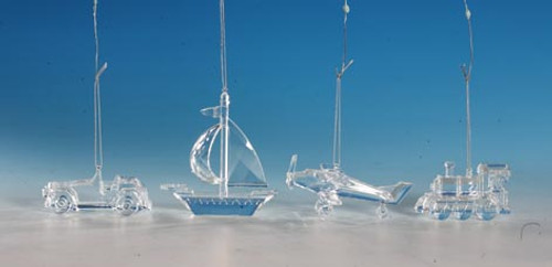 """Club Pack of 16 Icy Crystal Decorative Transportation Ornaments 4.5"""" - 31002329"""