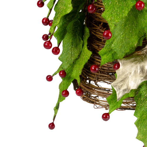 """18"""" 'Twas the Night Artificial Red Holly Berry & Leaf Christmas Cone Tree -Unlit - 23148948"""