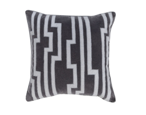 """18"""" Smokey Black and Silver Gray Charming Key Patterned Decorative Throw Pillow-Down Filler - 31348281"""