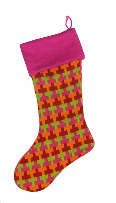 "18.5"" Fuschia Multi-Colored Knitted ""T"" Pattern Christmas Stocking - 30860995"