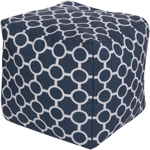 """18"""" Cobalt Blue and Ivory Gated Spheres Square Outdoor Patio Pouf Ottoman - 31087579"""
