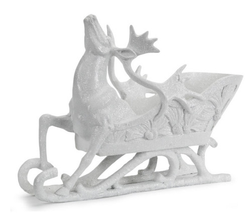 """12.75"""" Sparkling Whites Glittered Reindeer and Sleigh Christmas Decoration - 31301116"""