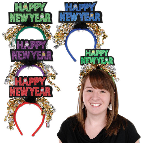 Club Pack of 12 Glittered Happy New Years Assorted Decorative Headbands - 31564272