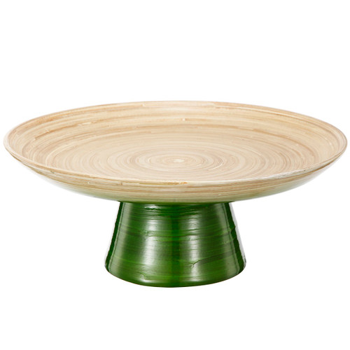 """12"""" Green and Tan Decorative Ombre Dynasty Bamboo Presentation Pedestal Tray - 32037435"""