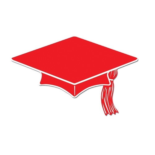 """Club Pack of 240 Red and White Mini Mortarboard Graduation Cap Cutout Party Decorations 4"""" - 31561268"""