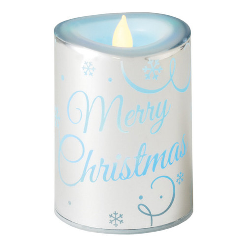 "4.5"" Color Changing LED Lighted Flameless Silver ""Merry Christmas"" Candle - 16184369"