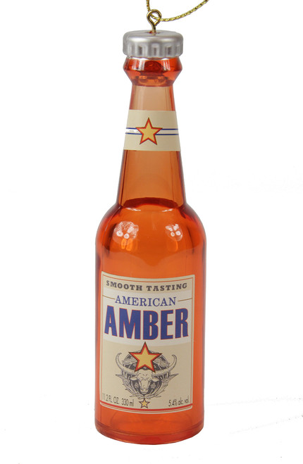 """4.25"""" Decorative Bottle of Beer """"American Amber"""" Christmas Ornament - 31088619"""