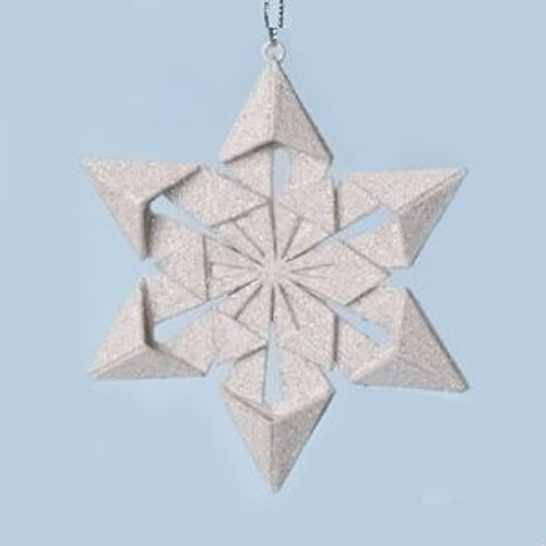 "4"" Holy Night Origami Style Star Point Glittered Snowflake Christmas Ornament - 31069884"