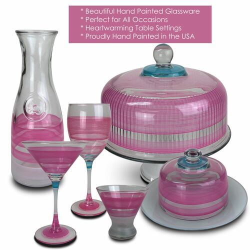 Set of 2 Pink Retro Stripe Hand Painted Wine Drinking Glasses - 10.5 Ounces - 31010644
