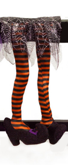 """18.5"""" Orange and Black Striped Wicked Witch Legs Halloween Table Decoration - 31099432"""