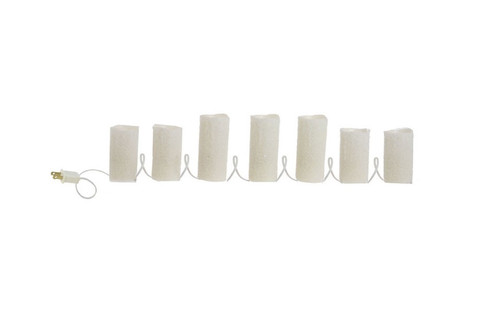Set of 7 Winter Frost Pre-Lit White Flameless Christmas Pillar Candle Lights - 30790384