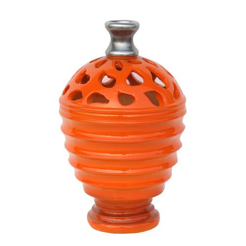 "9.5"" Tangerine Orange and Gray Decorative Outdoor Patio Cutout Vase - 32230541"