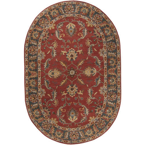 6' x 9' Vespasian Brick Red and Slate Blue Hand Tufted Oval Wool Area Throw Rug - 28457530