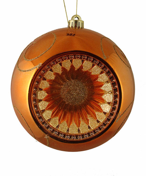 "Orange and Gold Retro Reflector Shatterproof Christmas Ball Ornament 8"" (200mm) - 23113883"