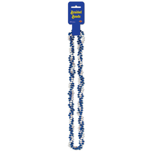 """Club Pack of 12 Metallic Blue and White Braided Party Bead Necklaces 33"""" - 31561958"""