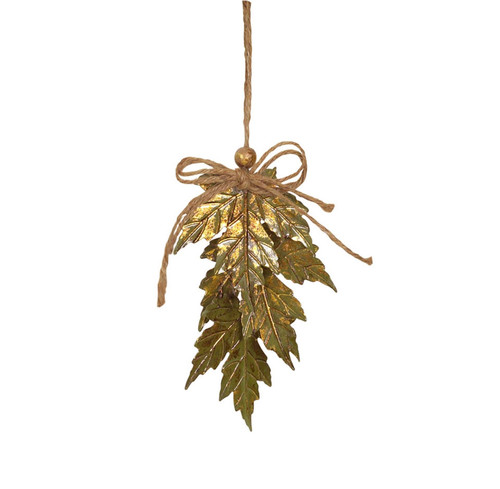"""5.5"""" Luxury Lodge Green & Gold Distressed Finish Maple Leaf Cluster Christmas Ornament - 32265180"""