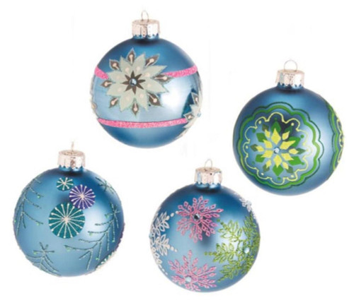 "Set of 4 Dazzling Blue Snowflake Design Glass Ball Christmas Ornaments 3.5"" - 17029265"