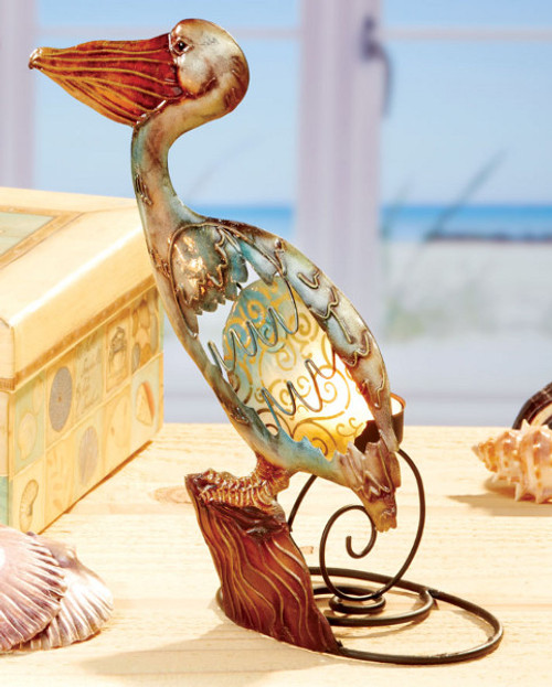 "Pack of 3 Seascapes Hand Painted Capiz Shell Pelican Tea Light Candle Holders 9"" - 30852450"