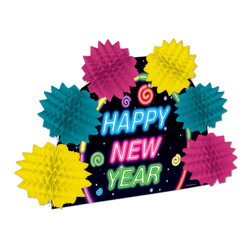 "Club Pack of 12 Multi-Colored Happy New Year Pop-Over Decorative Centerpiece 10"" - 31564185"