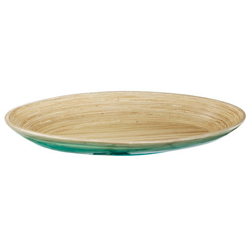 """23"""" Teal and Tan Decorative Ombre Dynasty Bamboo Oval Presentation Tray - 32037443"""