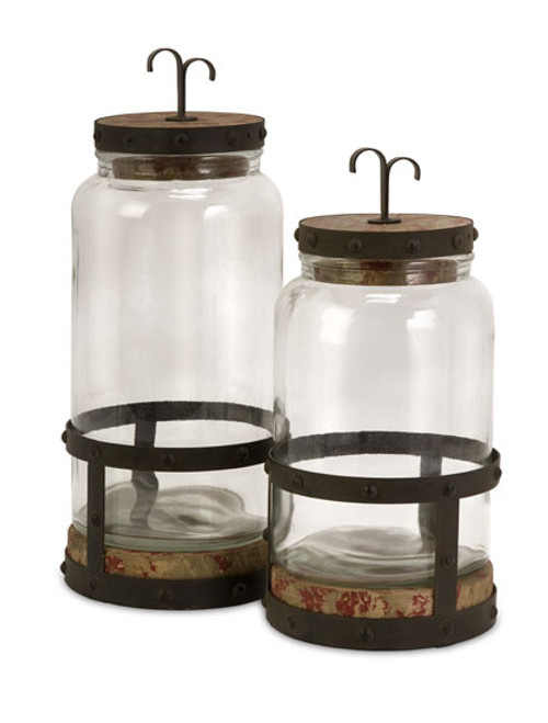 "Set of 2 Rustic Old Fashioned Glass and Metal Jar Canisters 15"" - 31303323"