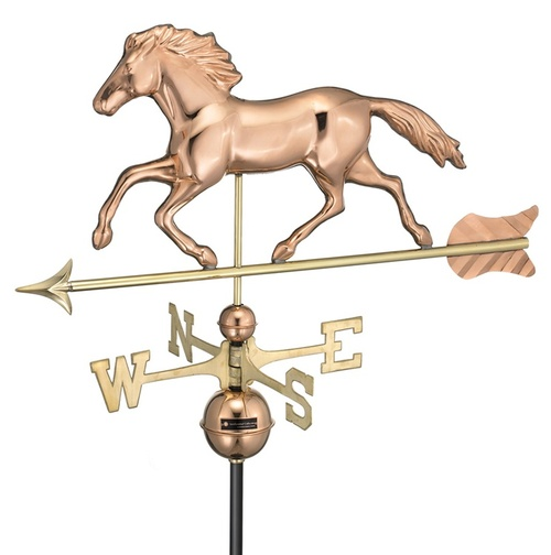 "33"" Smithsonian Collection Handcrafted Polished Copper Running Horse Outdoor Weathervane - 16490978"