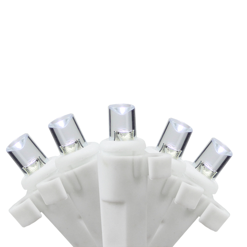 Set of 35 B/O Pure White LED Wide Angle Icicle Christmas Lights - White Wire - 30890713