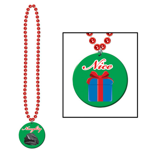 """Club Pack of 12 Christmas Naughty Or Nice Red Beaded Necklaces 36"""" - 31560793"""