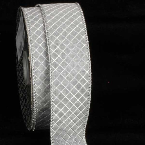 "Silver Piazza Design Wired Craft Ribbon 1.5"" x 20 Yards - 31386949"
