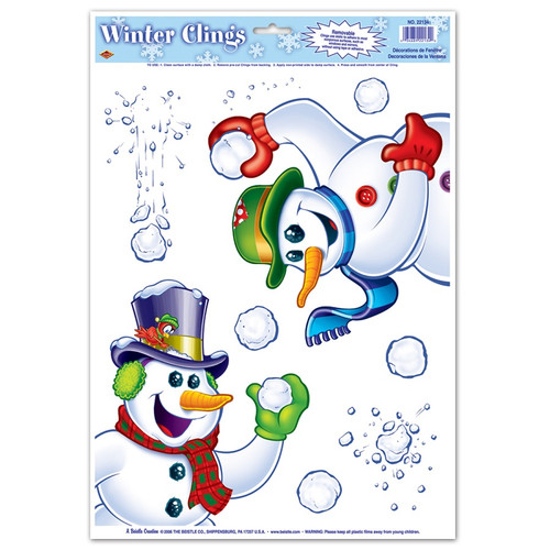 "Club Pack of 96 Snowman Throwing Snowballs Window Cling Christmas Decorations 17"" - 31562228"