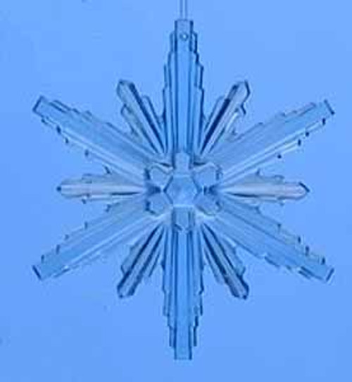 "4.5"" Icy Crystal Blue Beveled Flower Snowflake Christmas Ornament - 11130660"